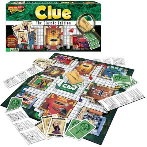 The suspects you know, in the mansion you remember, with the weapons you love! Yes, this is Classic Clue! Great family game of deduction and clue finding. 3-6 players, ages 8+