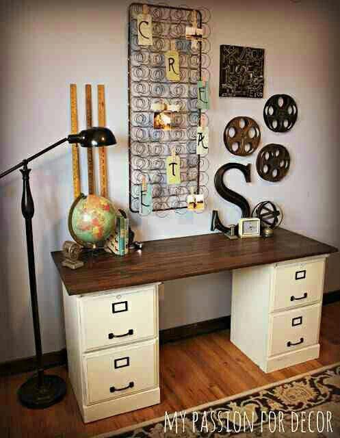 File cabinet desk. Box spring matress as paper/bills/notes organizer. Movie reels.