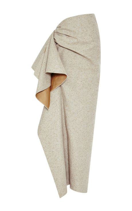 Draping detail on pencil skirt  Speckled Grey Side Ruffle Skirt by Rosie Assoulin - Moda Operandi