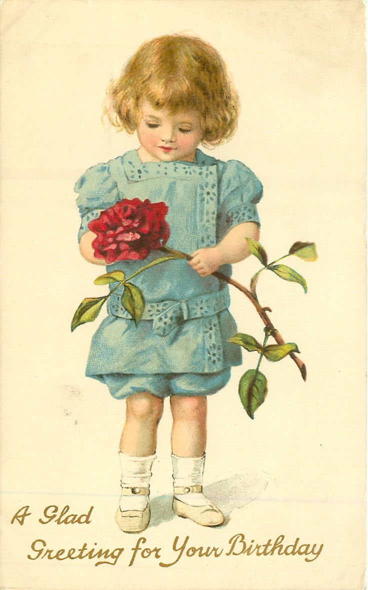 A GLAD GREETING FOR YOUR BIRTHDAY girl in blue holds & looks down at exaggerated red rose