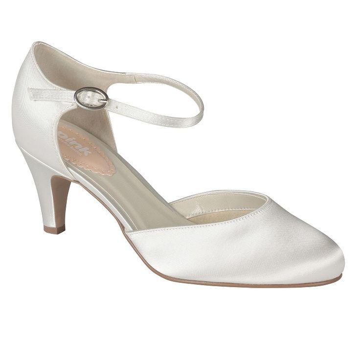 Pink by Paradox London - Ivory satin 'Freesia' mid heel round toe shoe