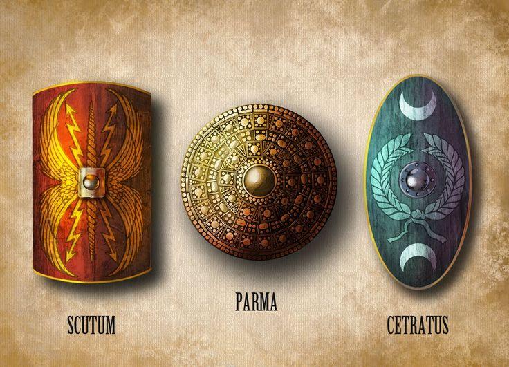 Tipos de escudos romanos:  Scutum, parma y cetratus