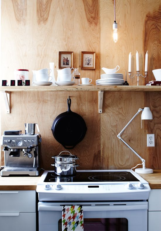 plywood - easy and cheap solution to covering an ugly backsplash in a rental.Open Shelves, Kitchens Wall, Interiors, Small Kitchens, Kitchens Renovation, Wooden Wall, Modern Kitchens, Design Labs, Plywood Wall