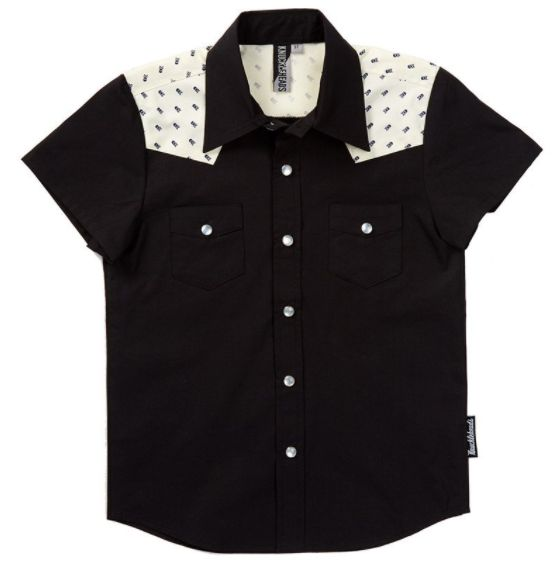 Knuckleheads Boys Rockabilly Shirt in Black with Skulls