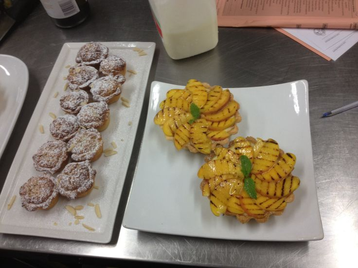 Almond butter tarts on the left and grilled peach tarts on the right.