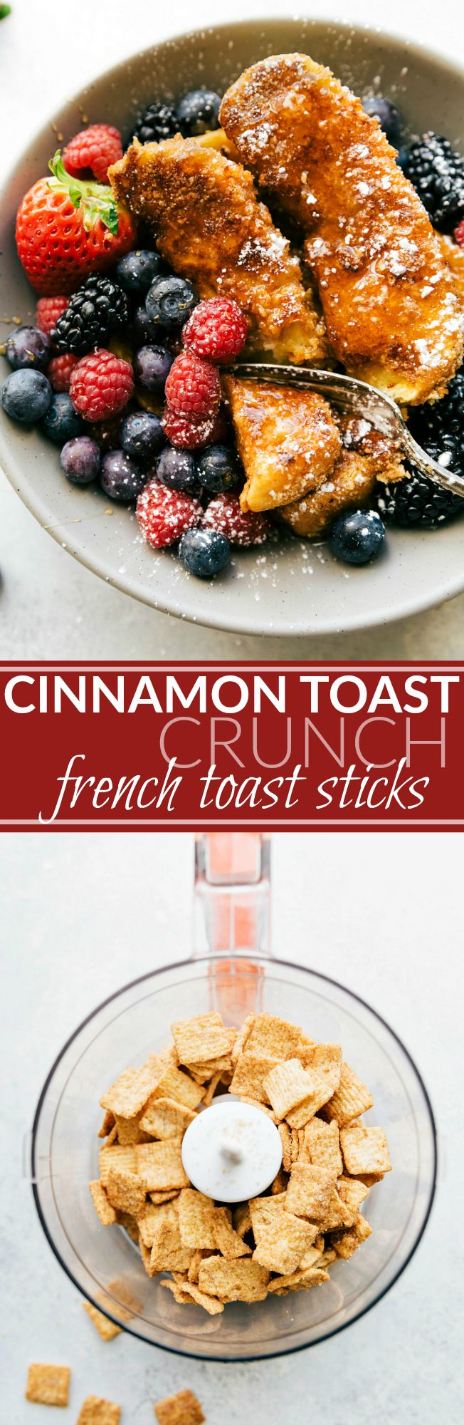 CINNAMON TOAST CRUNCH coated French Toast Sticks! Delicious, easy-to-make, and kid-friendly! via chelseasmessyapron.com