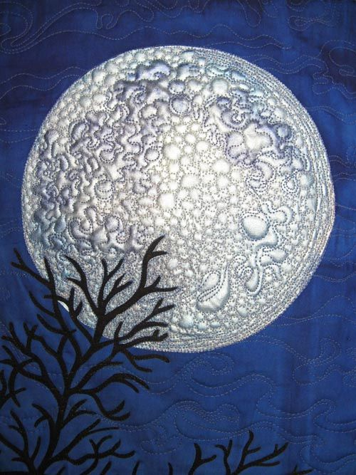 """I am making good progress on quilting """"I See the Moon."""" I have quilted around all the branches (whew!), done some of the darkest part of..."""