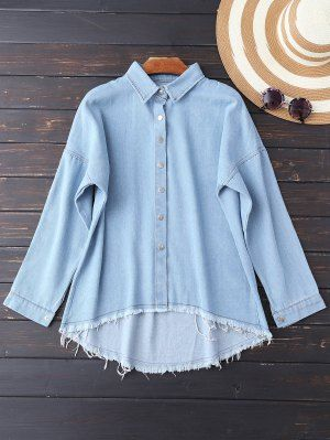 Cutoffs High Low Denim Camisa - Azul Claro