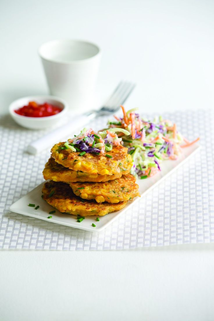 Corn, prawn and courgette fritters