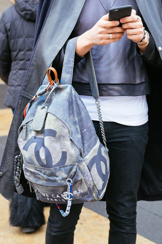 Chanel graffiti canvas backpack