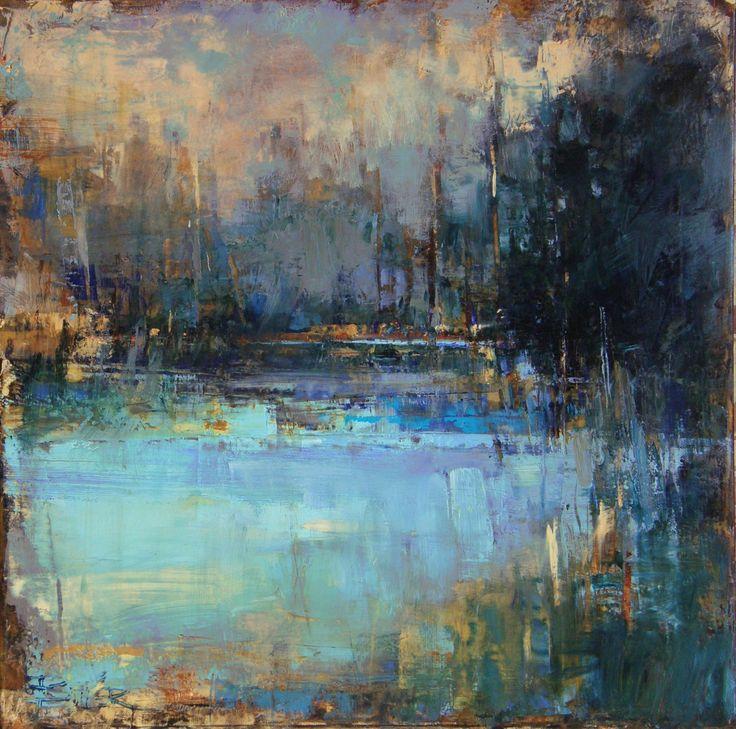 """☼ Painterly Landscape Escape ☼ landscape painting by Curt Butler - """"Shallows"""" Oil & Encaustic"""