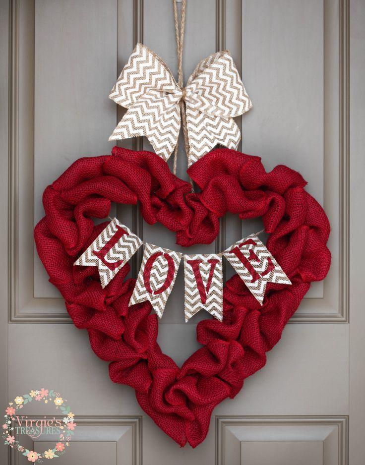 Heart Shape Red Burlap Wreath, Love Burlap Wreath, Valentine's Day Burlap Wreath, Chevron Love Burlap Banner, Large Heart Wreath by VirgiesTreasures on Etsy