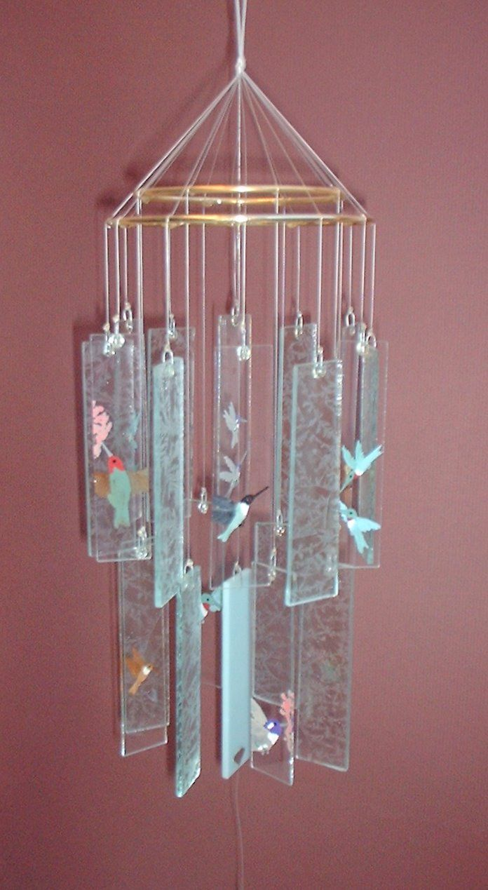 Stained Glass Wind Chimes Hummingbirds