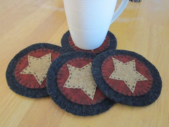 Wool penny rug coasters americana by granniesraggedybags for Best coasters for sweaty drinks