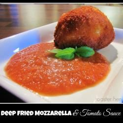 Deep fried mozzarella with spicy tomato dipping sauce