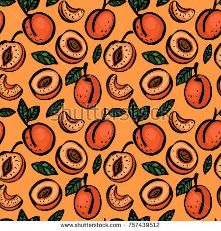 seamless color pattern of hand drawing peach on a orange background