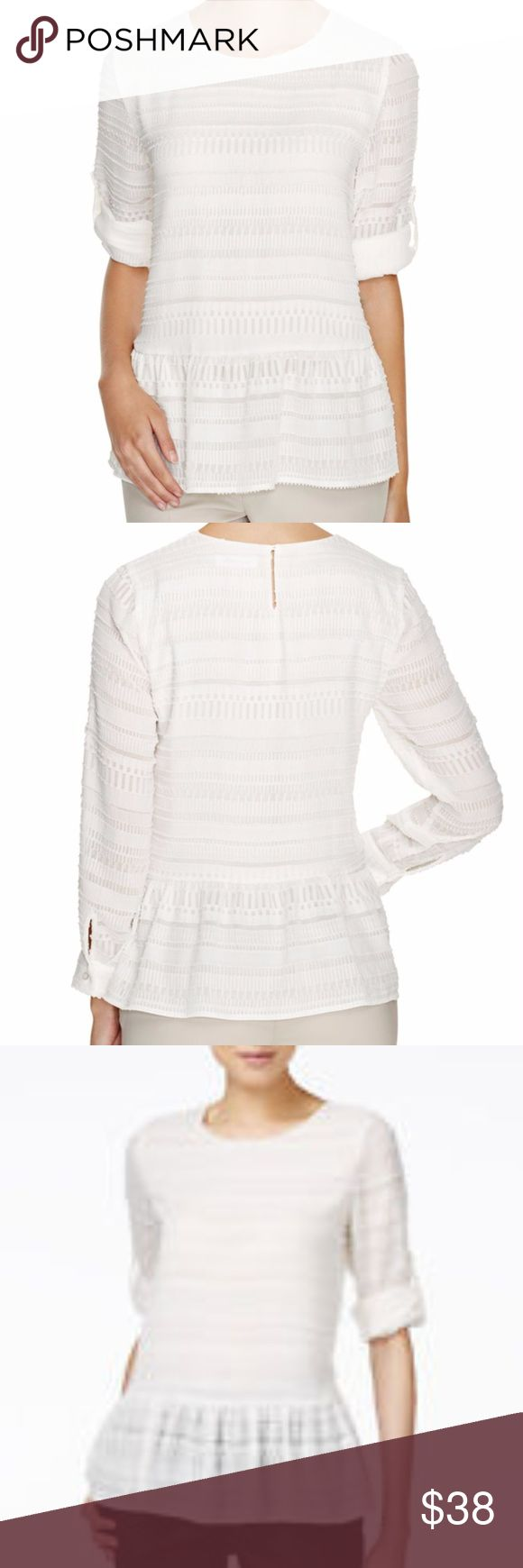 """Calvin Klein Textured Peplum Soft Womens Top This white, textured peplum top from Calvin Klein is super soft and classy look. This rop is somewhat see through and has roll sleeves. Perfectly paired with slacks or jeans.   Measurements:  Length: 26"""" Bust: 21.5"""" Sleeves: 22"""" natural length Calvin Klein Tops"""