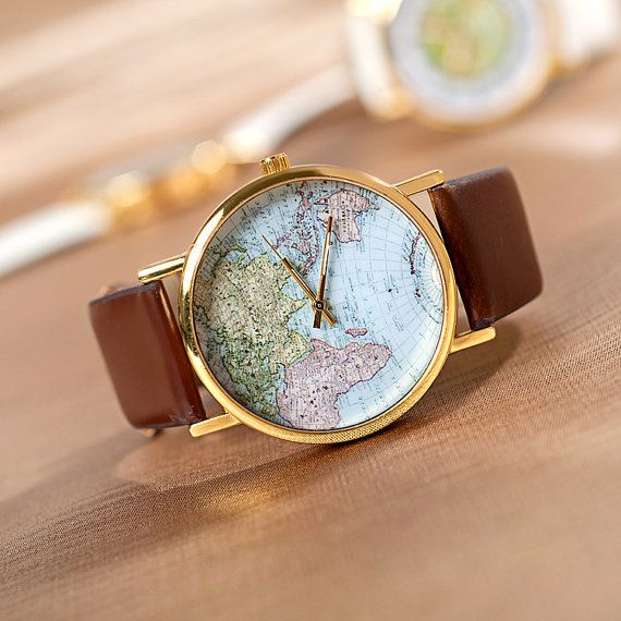 Unique Map Womens Watch, Brown Leather Wrap Wrist Watch, Christmas Gift