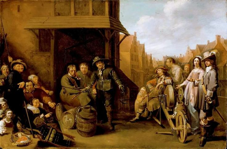 Street scene. Jacob Duck 1620-30 Los Angeles county museum. Love the mobile knife grinder.
