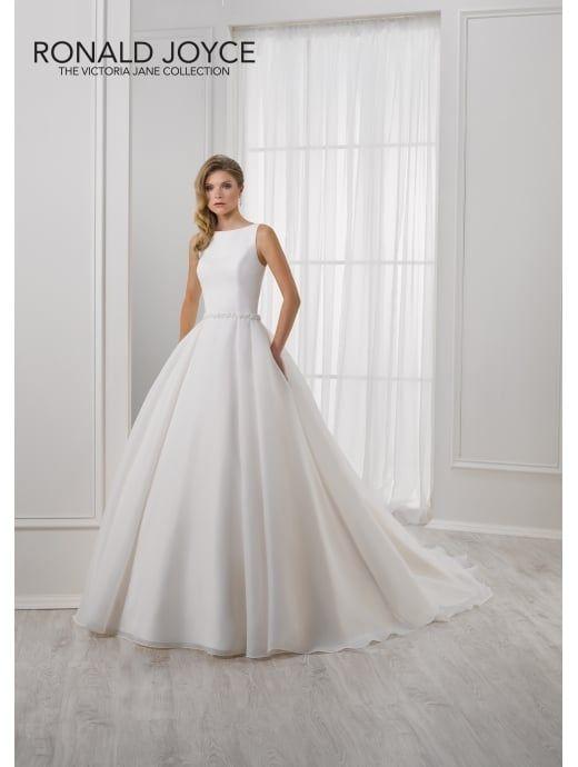 RONALD JOYCE 18101 LIZZIE Slash Neckline A Line Wedding Gown Ivory