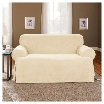 loveseat slipcover sure fit cream ivory