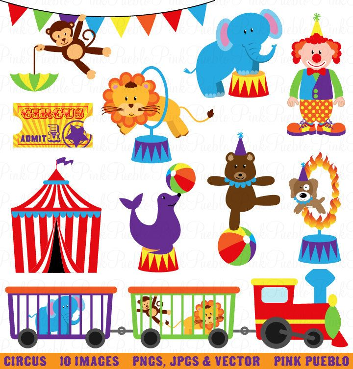 Circus Clip Art Clipart, Carnival Clip Art Clipart, Great for Birthday, Invitations, Party - Commercial and Personal. $6.00, via Etsy.