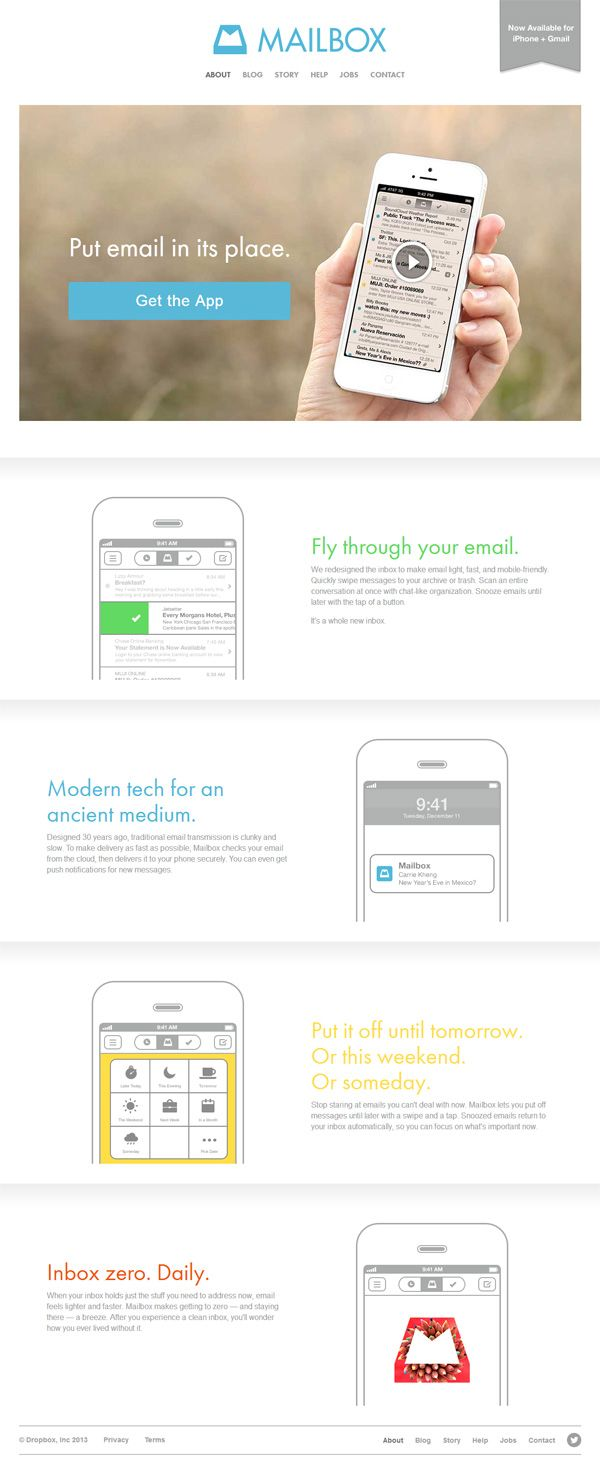 Example of mobile app website design: Mailbox