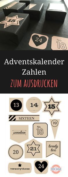 Adventskalender Vorlage zum kostenfreien Ausdrucken. Mit weißen und schwarzen Zahlen - jeweils im kompletten 24er Set. Ich hoffe, ich mache euch damit eine Freude!