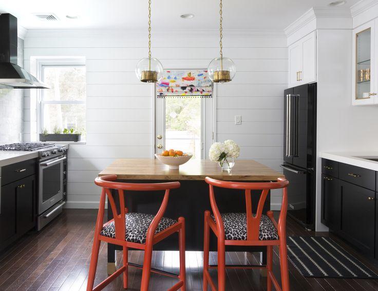 Design Manifest Kitchen Black cabinets white shiplap
