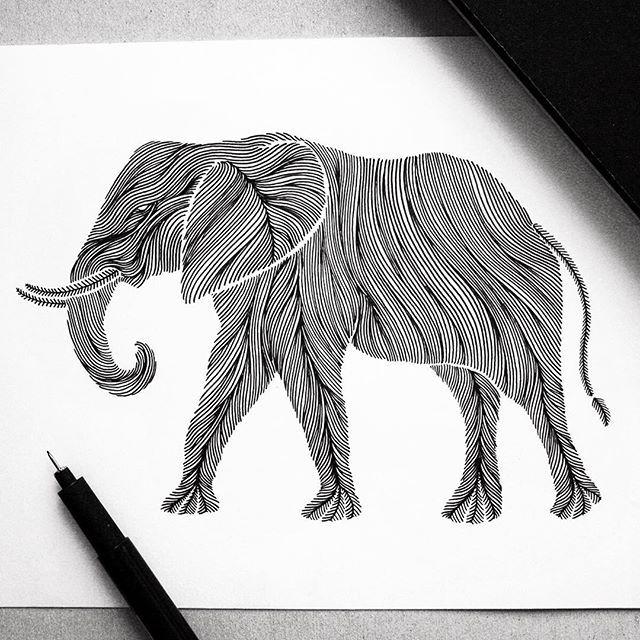 "Animal Lines ""Elephant"" it was time... // #elephant #wildanimal #pen #animal…"
