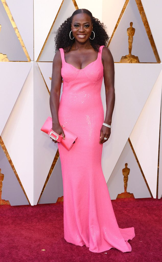 Viola Davis from Standout Style Moments From Oscars 2018  Barbie pink (a la Michael Kors Collection) takes the Oscars, thanks to the How to Get Away With Murder star.