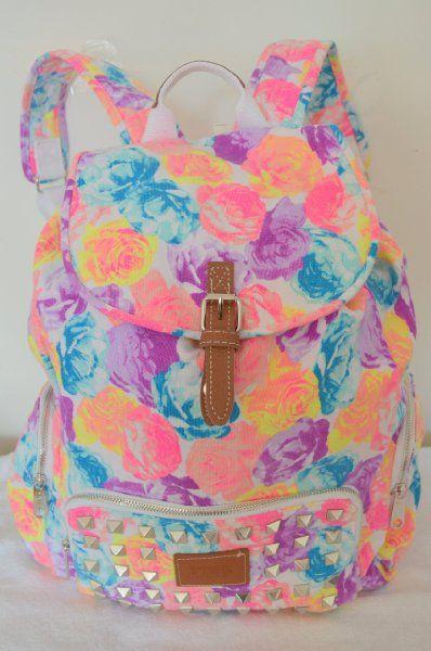 Victoria's Secret PINK Backpack Bling Studded Floral Canvas School Handbag Backpack Book Bag Tote-Sold Out on Wanelo