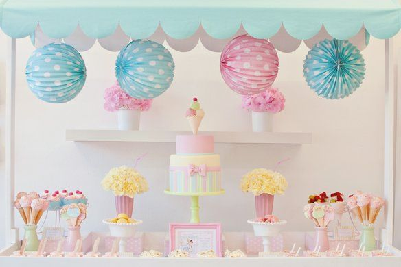 ice cream party cake and ice cream cone cookies. Beautiful inspiration for an ice cream party!