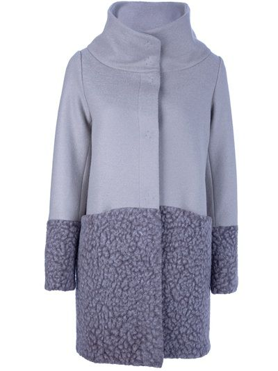 HERNO - button fastening coat grey wool