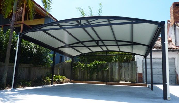 Modern carport great shallow arc will not intrude on for Modern carport designs plans