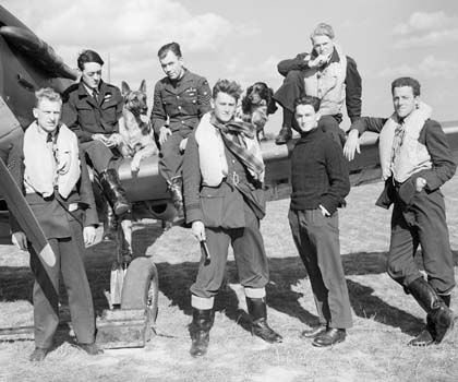 Photo showing WWII Battle of Britain pilots with dogs posing next to a plane