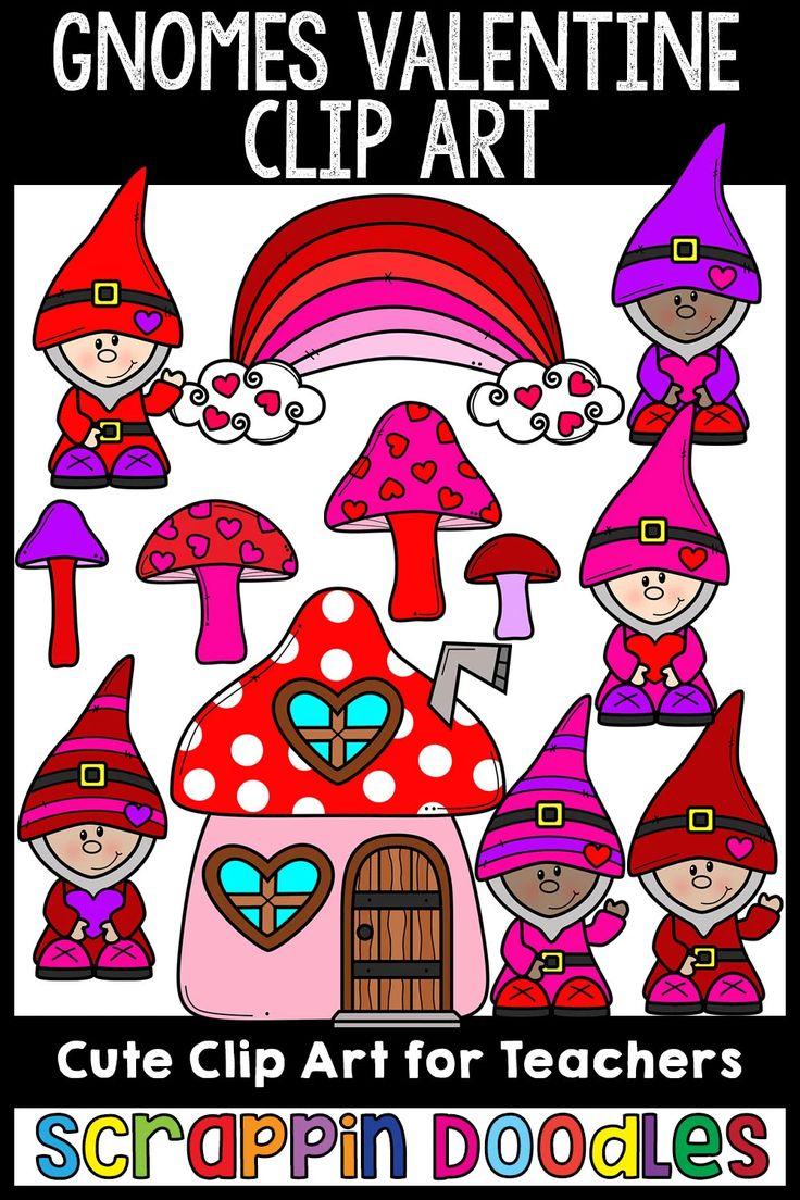 Valentine Gnomes Clip Art in 2020 Clip art, Valentine