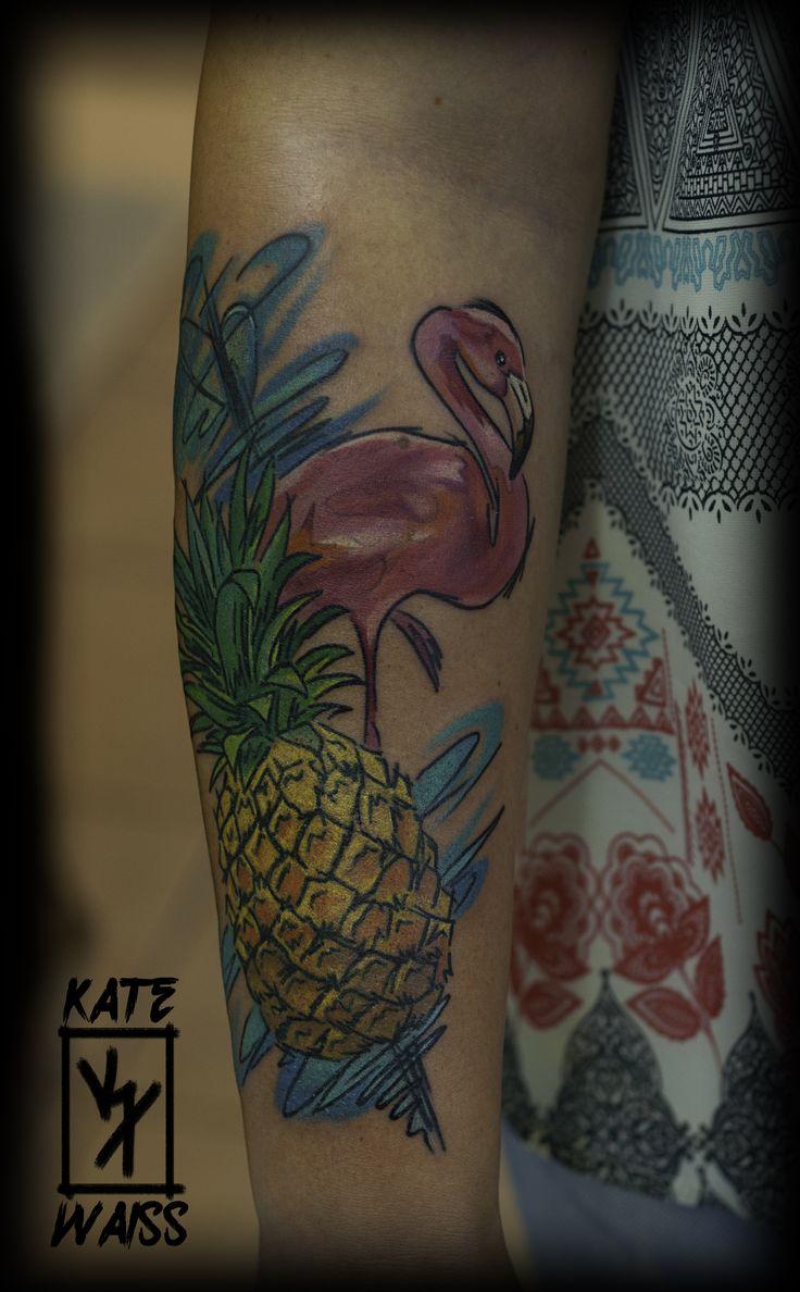 #flamingo #pineapple #abstract #sketch #illustration #tattoo #watercolor #splash