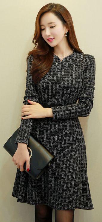 StyleOnme_Grid Print Long Sleeve Flared Dress