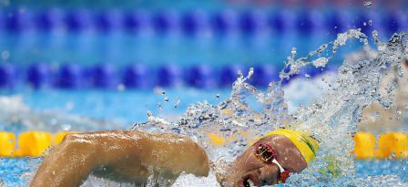 RIO DE JANEIRO, BRAZIL - AUGUST 07: Jessica Ashwood of Australia competes in the Women's 400m Freestyle heat on Day 2 of the Rio 2016 Olympic Games at the Olympic Aquatics Stadium on August 7, 2016 in Rio de Janeiro, Brazil. © 2016 Getty Images