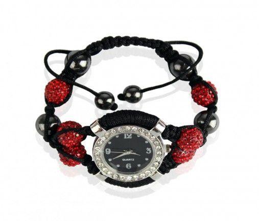 Náramek s hodinkami Shamballa LSB0021 červený - Kliknutím zobrazíte detail obrázku.