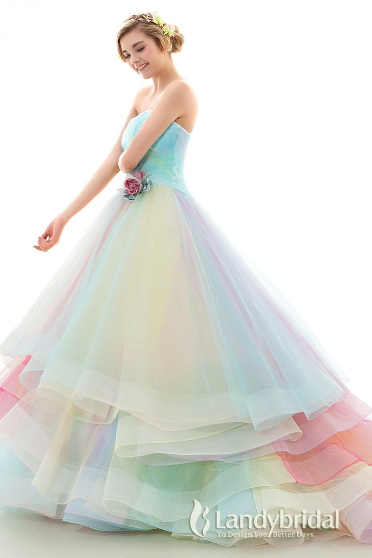 coloured wedding dresses colorful wedding dresses Color dress Princess Rainbow dress Heart Neck gradation jwlt 26