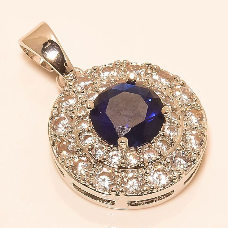 "MADAGASCAR BLUE SAPPHIRE, WHITE TOPAZ 925 STERLING SILVER PENDANT 0.99"" in Jewellery & Watches, Fine Jewellery, Fine Necklaces & Pendants 