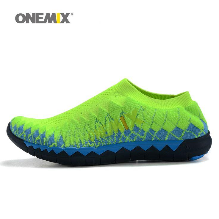 2016 pria onemix tenun atas joging sepatu olahraga sneakers portabel dalam ruangan sepatu untuk pria bernapas sepatu jala berjalan