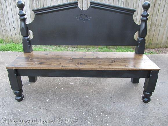 bench from repurposed headboard