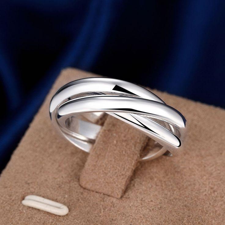 Volledige Maten Verlovingsringen Voor Vrouwen Verzilverd Mode Anillos Mujer Sieraden Drie Cirkels Ring Mannen Top Kwaliteit