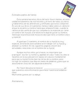 "This is an activity I send home when we are studying the author Kevin Henkes. After reading ""Crisantemo"", I send this as a project or homework. What's included.1. A letter to parents summarizing the book and explaining how to help their child complete the project (Only in Spanish).2."