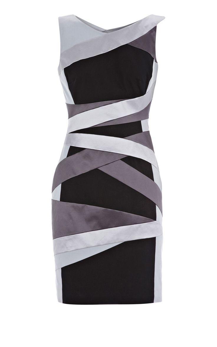 Karen Millen Structured bandage dress black multicolor [#KMM098] - $81.43 :