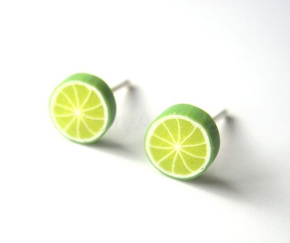 Lemon Lime Green Slice Stud Earrings Polymer Clay by MistyAurora, $11.00