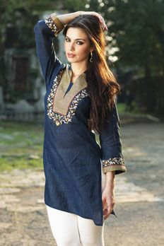 Linen kurta with resham work.